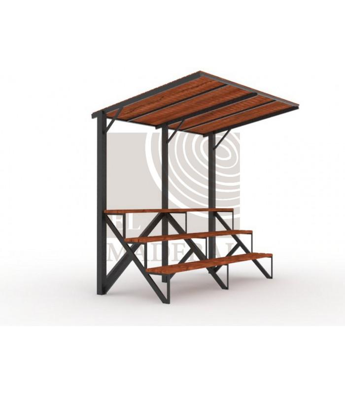 Gradería 3 niveles con techo